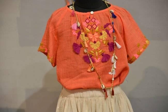 Antik Batik Girls Orange Embroidered Shirt