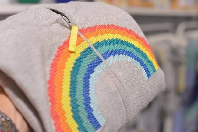 Bonnie Baby Sweatshirt with Rainbow Cross Stitch
