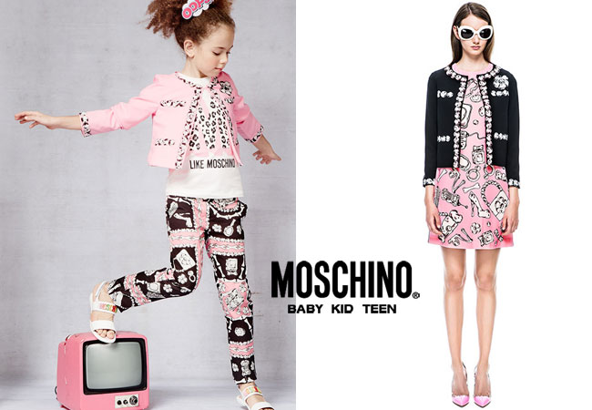 Moschino Cheap & Chic Spring Summer 2015 Girls Pink & Black Bone Outfit