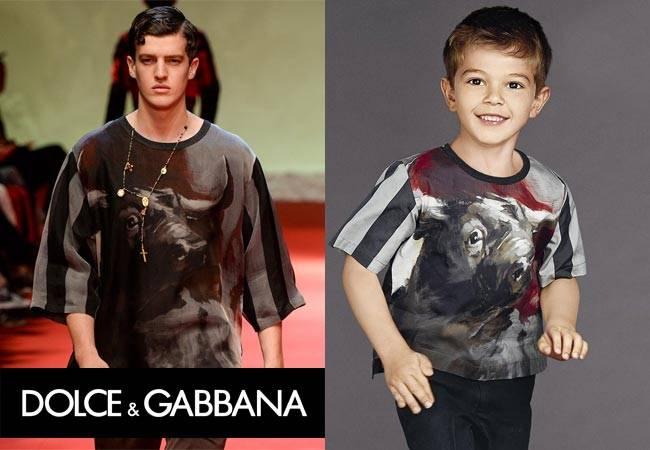 Dolce & Gabbana Milan Fashion Week Boys Grey Striped Bull Outfit Spring Summer 2015