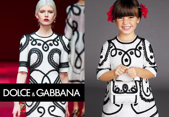 Dolce & Gabbana Milan Fashion Week Girls Spring Summer 2015 Mini-Me White Silk Brocade Dress Dress