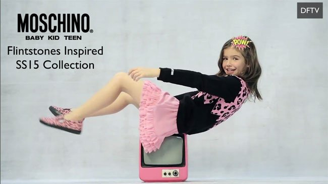 Moschino Girls Pink Flintstone Outfit Spring Summer 2015