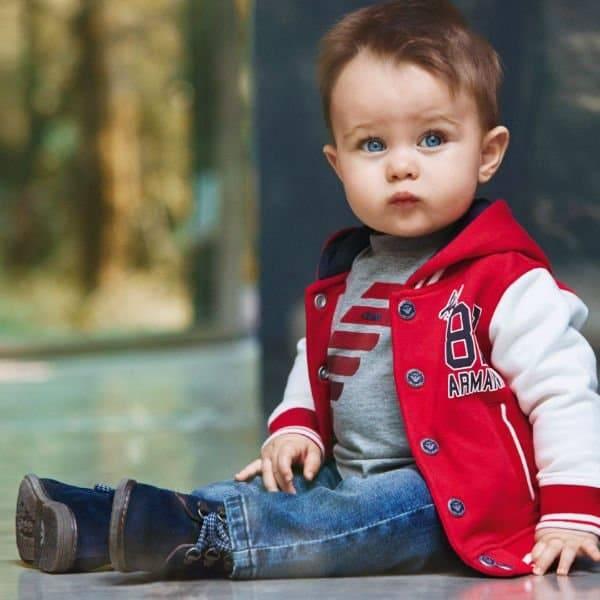 Armani Boys Red Ivory Jersey Varsity Jacket