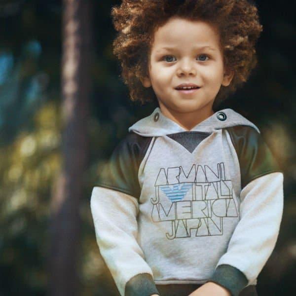 Armani Junior Boys Grey Hooded Sweatshirt