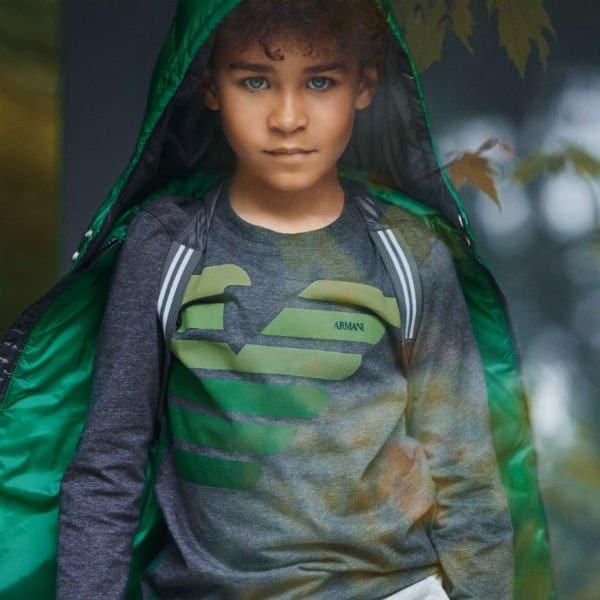 Armani Junior Boys Grey and Green Logo T-shirt