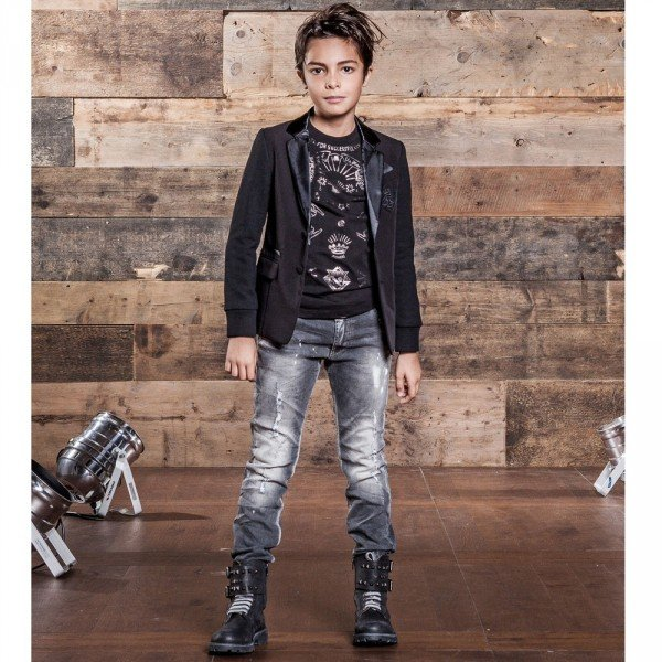 DIESEL KIDS Boys Black Blazer Satin Lapels