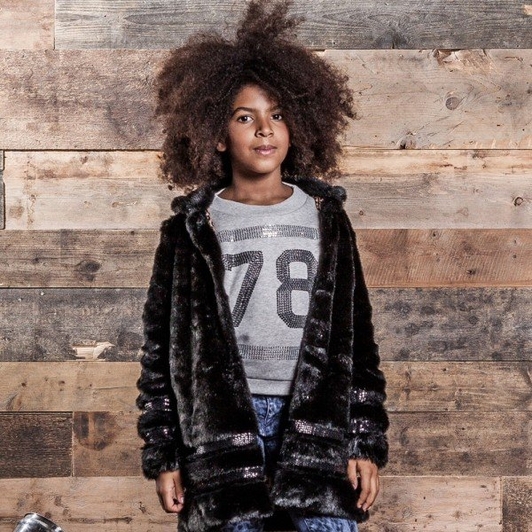 DIESEL KIDS Girls Black Fur Coat