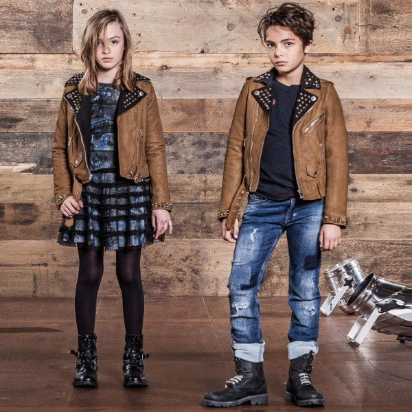 DIESEL KIDS Unisex Brown Leather Biker Jacket
