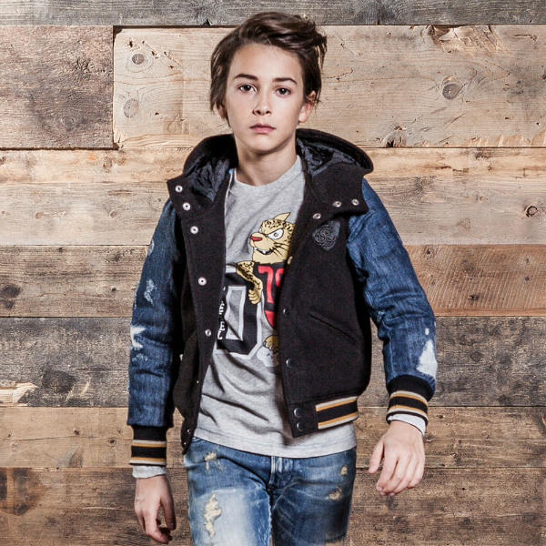 DIESEL KIDS Unisex Varsity Jacket with Denim Sleeves