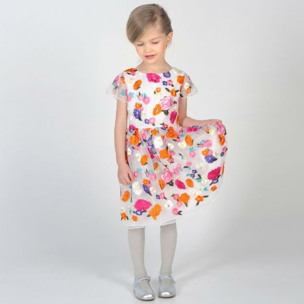 CHARABIA Floral Embroidered Organza Dress