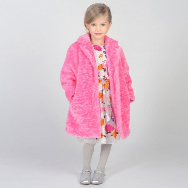 CHARABIA Girls Comfy Pink Fur Coat