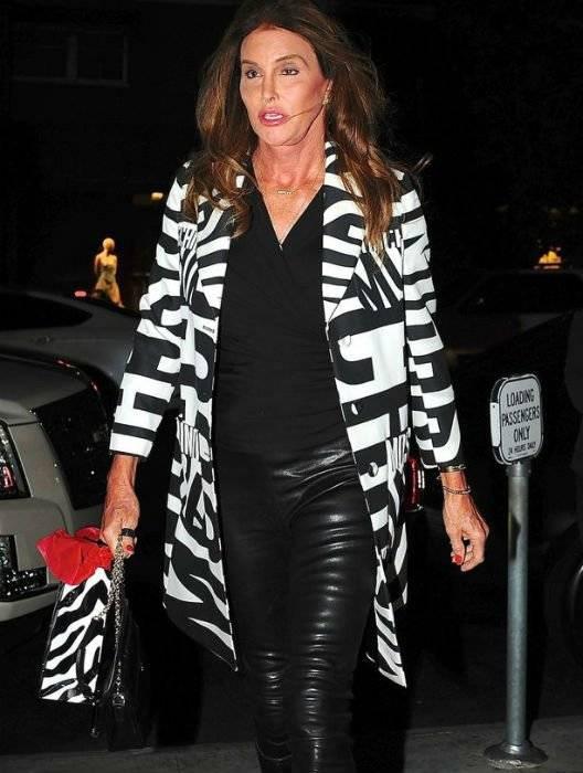 Caitlyn Jenner Moschino Black White logo jacket