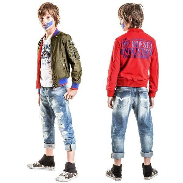 DIESEL KIDS Boys Red & Green Reversible Jacket 2