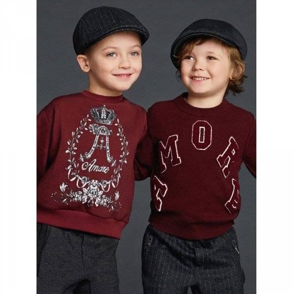 DOLCE & GABBANA Boys Burgundy Amore Sweatshirt