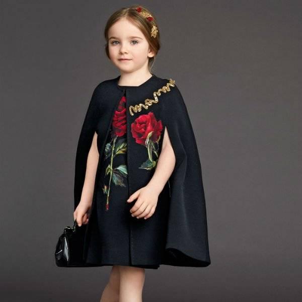 DOLCE & GABBANA Girls Black Rose Applique Wool Crepe Dress
