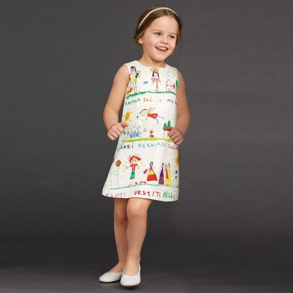 DOLCE & GABBANA Girls Ivory Brocade Dress with Drawing Print