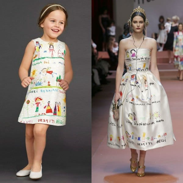 DOLCE GABBANA Ivory Brocade-Dress with Drawing