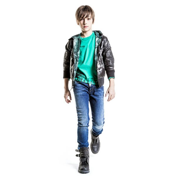 JOHN GALLIANO Boys Black & Green Reversible Gazette Print Jacket