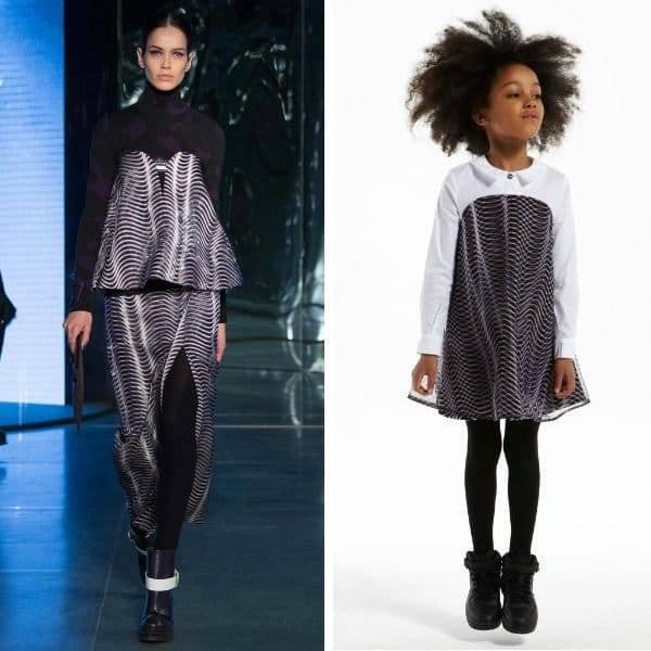 KENZO Girls Mini Me Black  White Holographic Dress