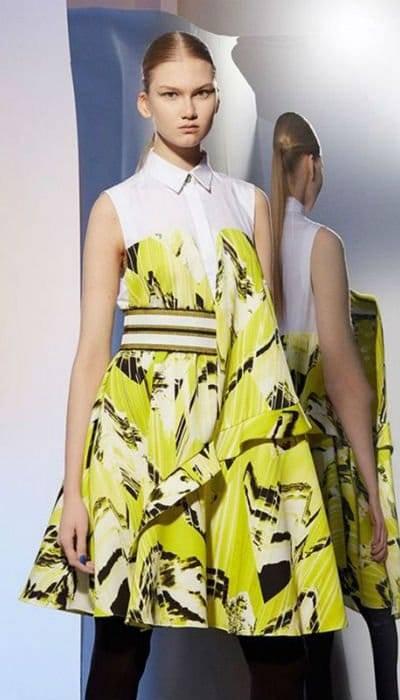 Kenzo Fall Winter 2014 Lime Green Print Dress