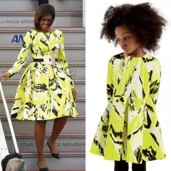 Kenzo Girls Lime Green Mini Me Dress Worn By Michelle Obama