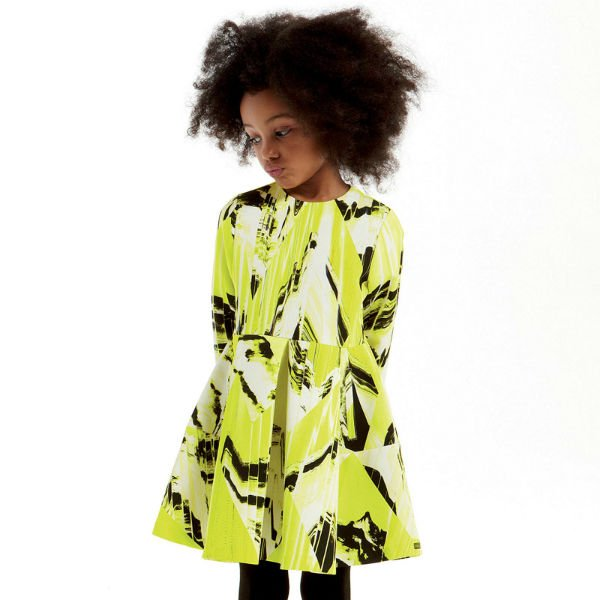 Kenzo Girls Lime Green Print Mini Me Dress