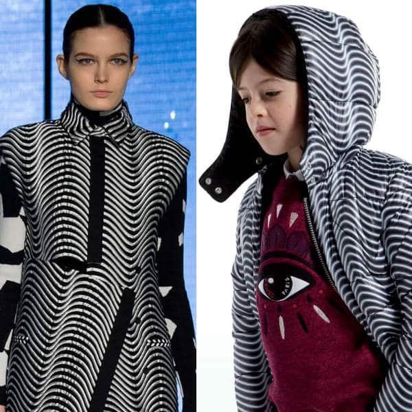 Kenzo Girls Mini Me Black and White Reversible Coat