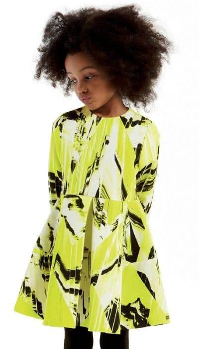 Kenzo Girls Mini Me Lime Green Print Dress