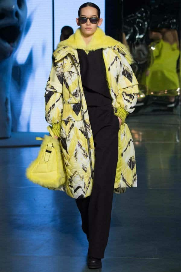 Kenzo Women Fall Winter 2014 Lime Green Printed Coat