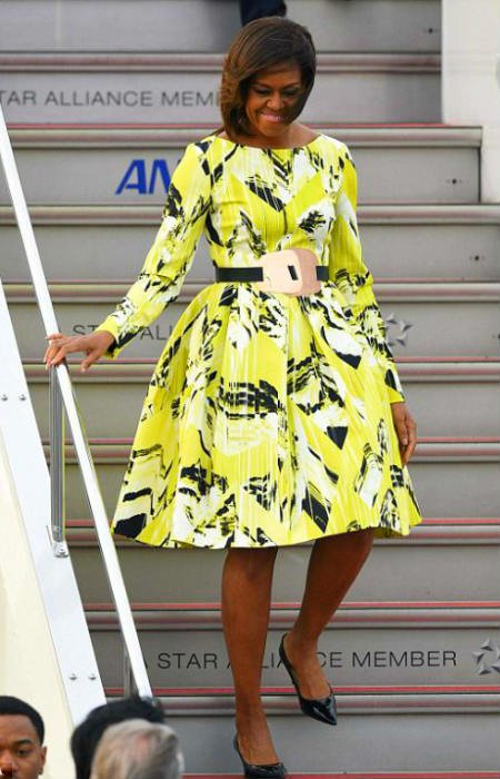 Michelle Obama Visits Japan in Kenzo Lime Green Print Dress