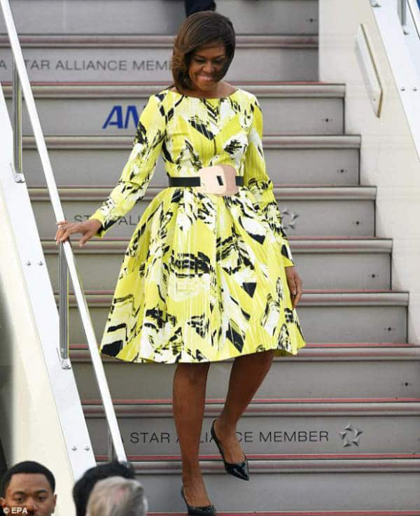Michelle Omaba Wears Kenzo Lime Green Dress Fall Winter 2014