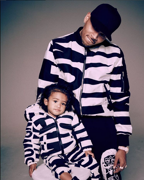 Chris Brown Moschino with Daughter