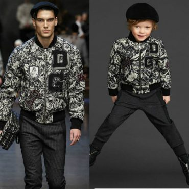 Dolce and Gabbana Boys Mini Me Floral Letter Jacket Fall Winter 2015