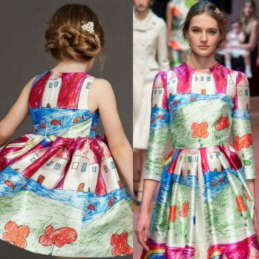 Dolce and Gabbana Pink Mini Me Girls House Drawing Dress