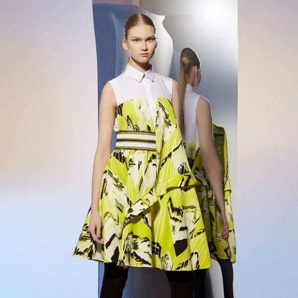 Kenzo Lime Green Dress Fall Winter 2014