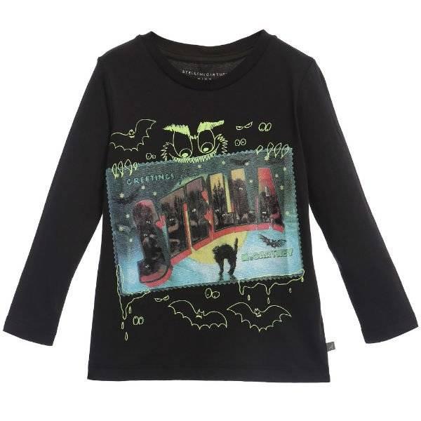 Stella McCartney Kids Black Cotton Halloween Barley T-Shirt