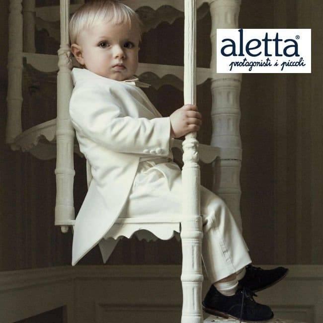 ALETTA Boys Ivory 5 Piece 'Tailcoat' Suit
