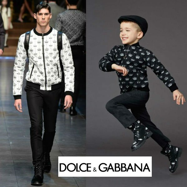 Dolce & Gabbana Boys Black Crown Bomber Jacket