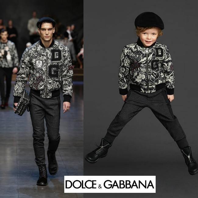 Dolce Gabbana Boys Mini Me Black White Wool Knit Bomber Jacket