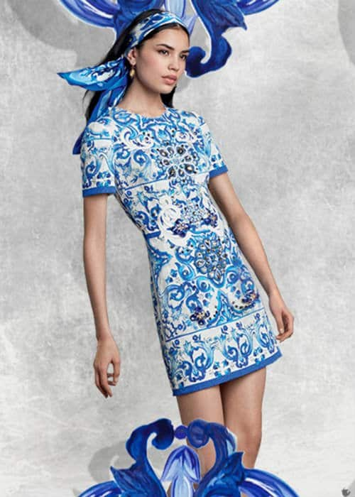 Dolce Gabbana Womens Majolica Brocade Dress