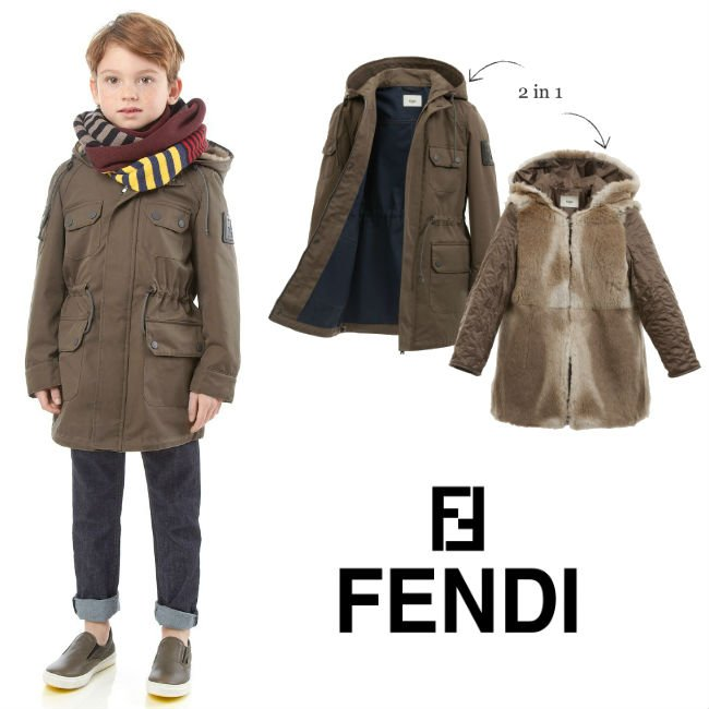 FENDI Luxurious Fur Lined Parka Coat