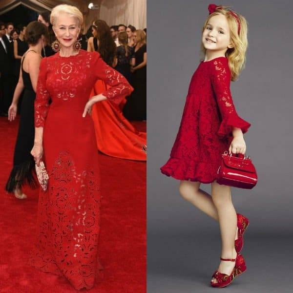 5736c8cf20d ... Girls Mini Me Red Silk Chiffon Lace Dress. Sale! HELEN MIRREN in Dolce  and Gabbana at Met 2015 Gala