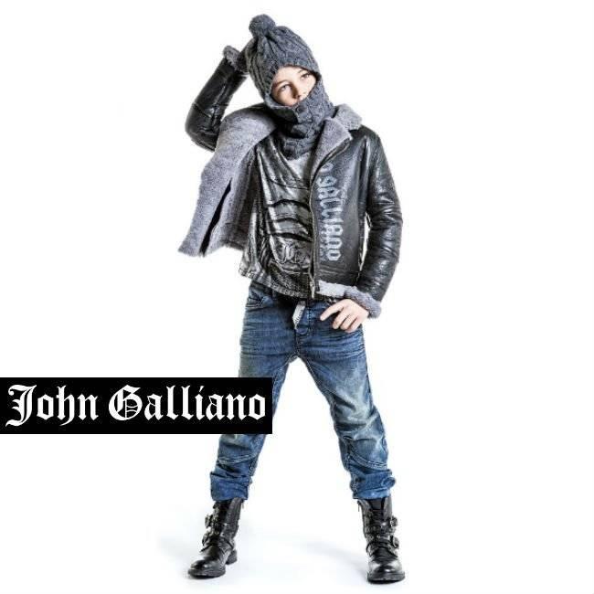 John Galliano Boys Black & Grey Sheepskin Aviator Jacket
