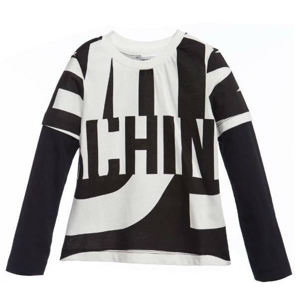 Moschino Boys Black White Monochrome Logo Shirt