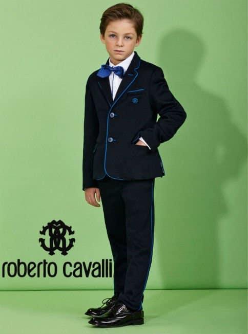 Roberto Cavalli Boys Navy Blue 2 Piece Cotton Suit