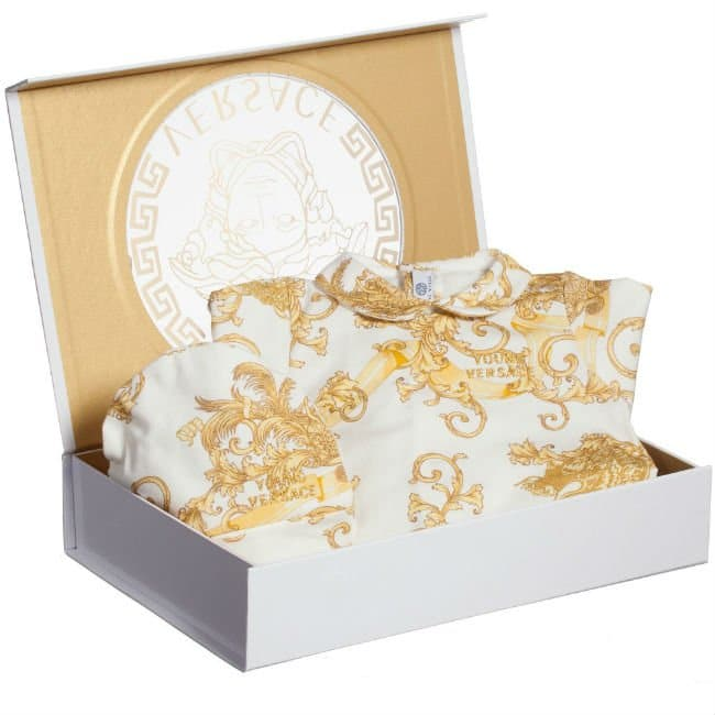 b4ac08de7a972 Most Luxurious Baby Gifts Fall Winter 2015. by Laura Yatim. Young Versace Baby  Gift Box