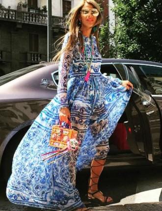 Fashion Editor Anna Dello Russo Wears Dolce & Gabbana Majolica Brocade Dress at Milan Fashion Week