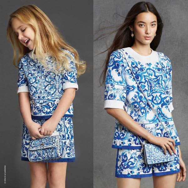Dolce & Gabbana Girls Blue Majolica Brocade Mini-Me Look