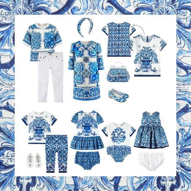 Shop Dolce & Gabbana Girls White & Blue Majolica Print at Melijoe - Ships Worldwide