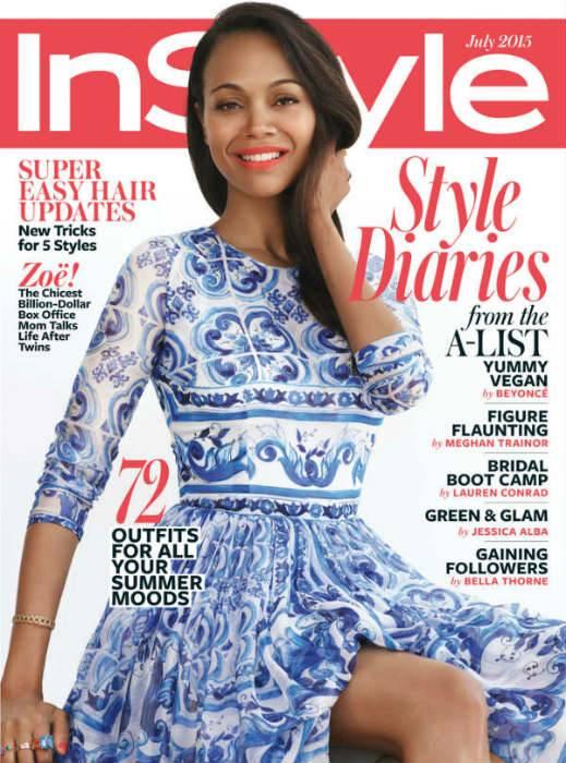 InStyle July Cover - Actress Zoe Saldana Wearing Dolce & Gabbana Majolica Brocade Dress